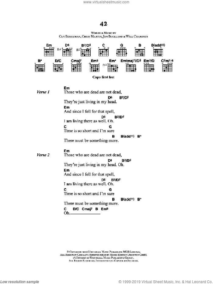 42 sheet music for guitar (chords) by Chris Martin