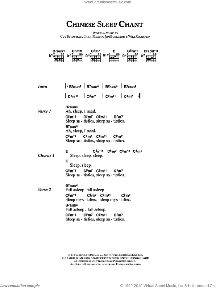Chinese Sleep Chant sheet music for guitar (chords) by Coldplay, Chris Martin, Guy Berryman, Jon Buckland and Will Champion, intermediate skill level