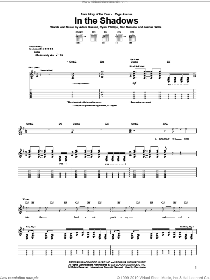 In The Shadows sheet music for guitar (tablature) by Ryan Phillips. Score Image Preview.