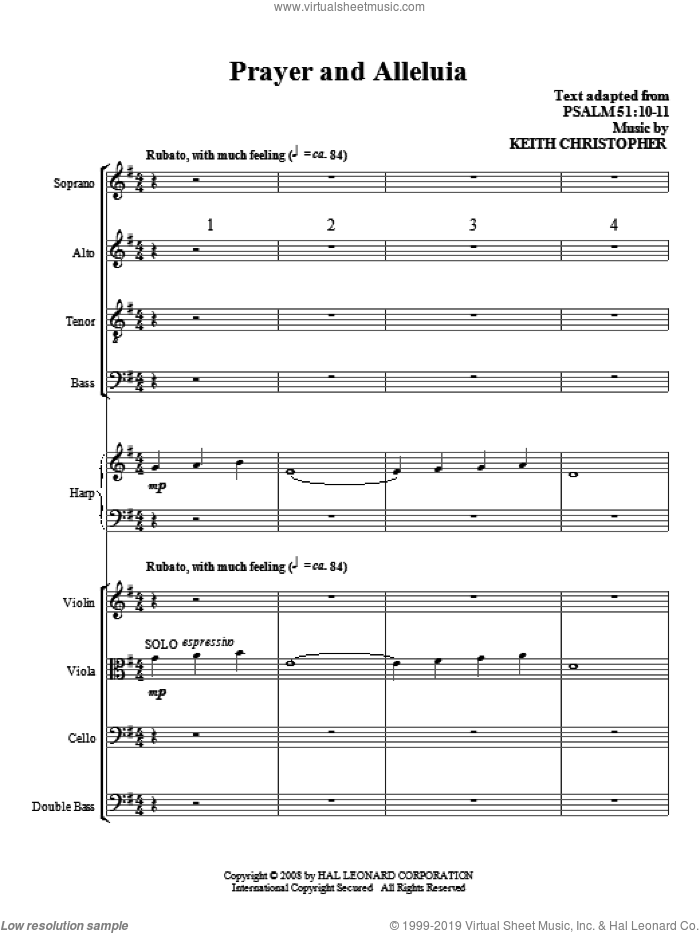 Prayer And Alleluia (COMPLETE) sheet music for orchestra/band (Special) by Keith Christopher, intermediate orchestra/band (Special). Score Image Preview.
