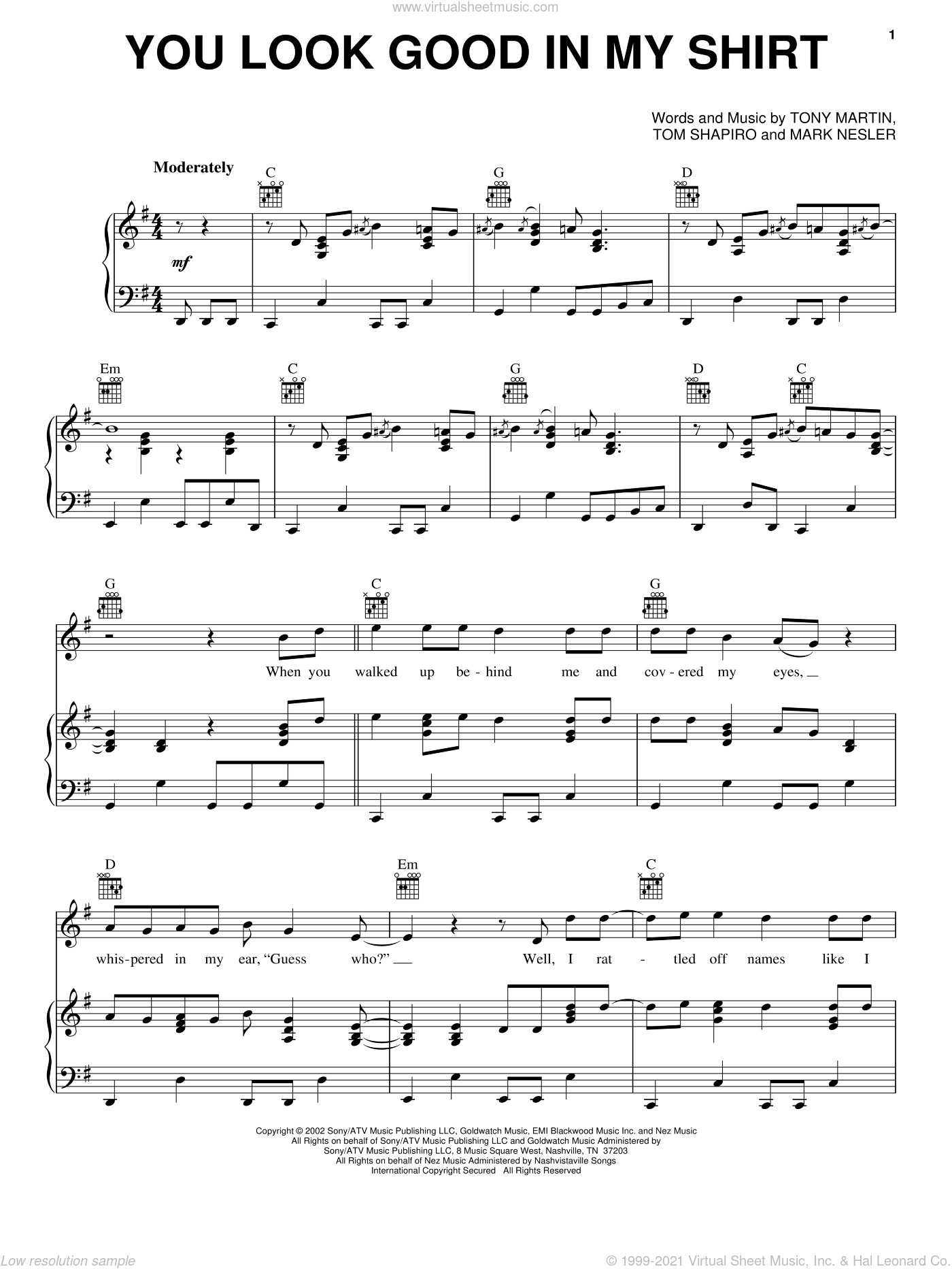 You Look Good In My Shirt sheet music for voice, piano or guitar by Keith Urban, Mark Nesler, Tom Shapiro and Tony Martin, intermediate skill level
