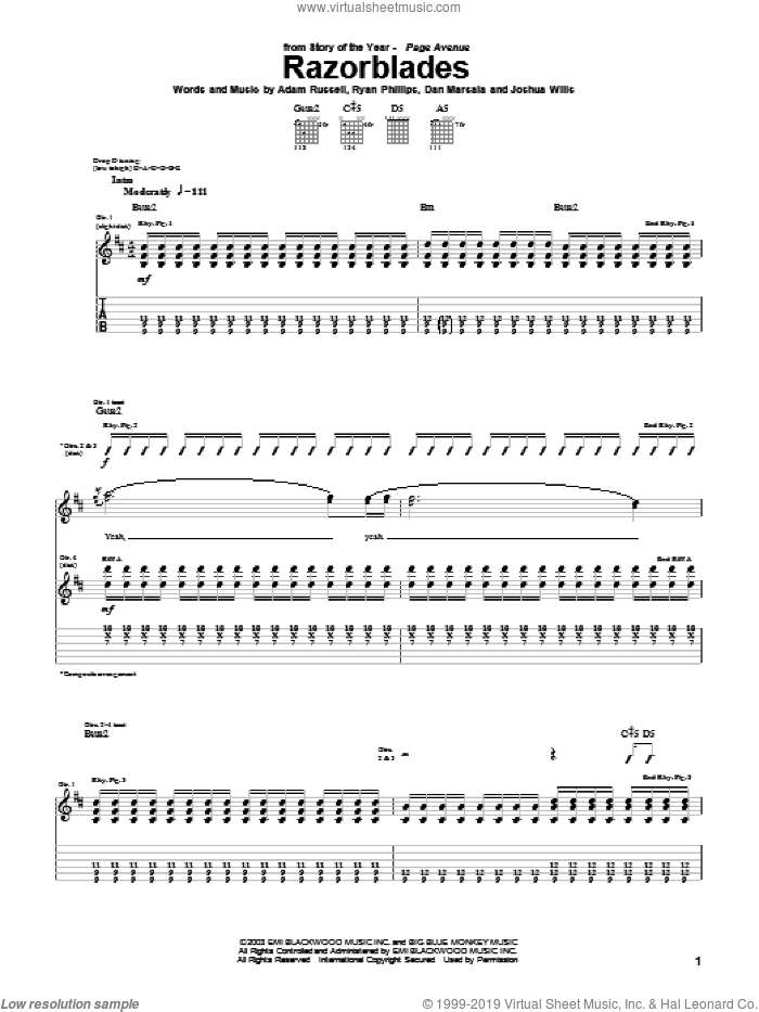 Razorblades sheet music for guitar (tablature) by Ryan Phillips