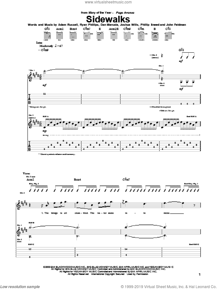 Sidewalks sheet music for guitar (tablature) by Story Of The Year, intermediate. Score Image Preview.