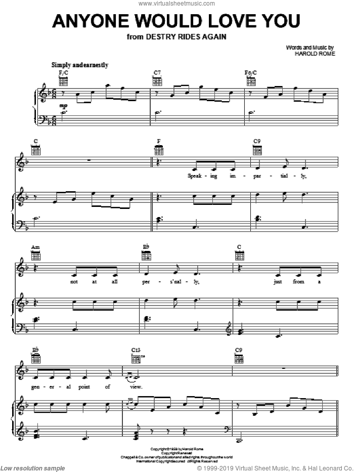 Anyone Would Love You sheet music for voice, piano or guitar by Harold Rome. Score Image Preview.