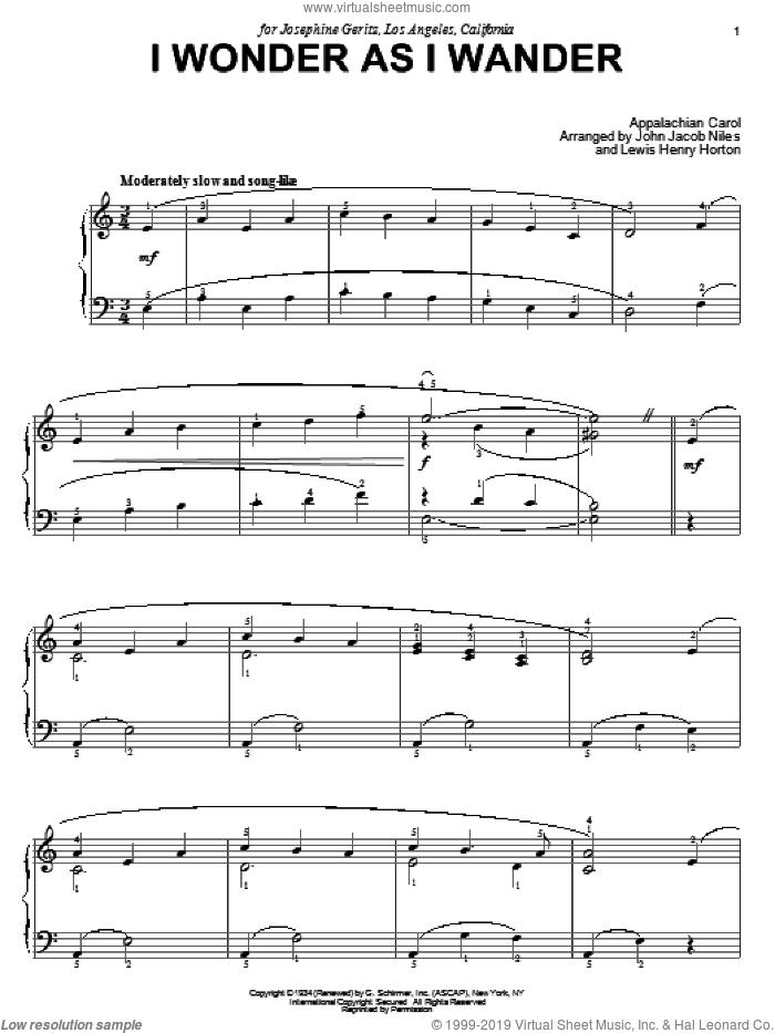 I Wonder As I Wander sheet music for piano solo by John Jacob Niles, intermediate skill level