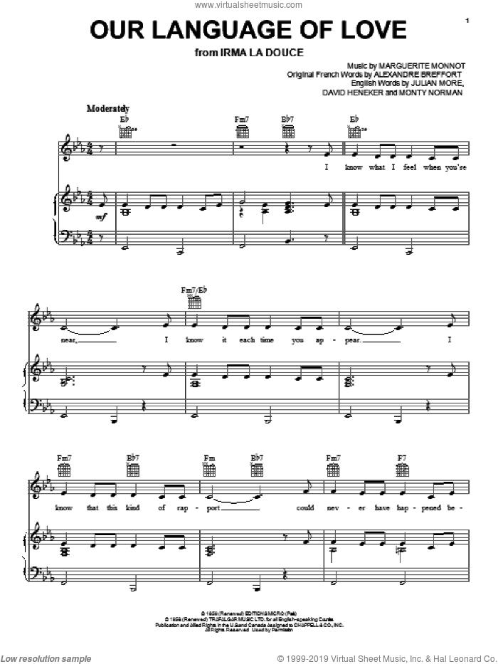 Our Language Of Love sheet music for voice, piano or guitar by Julian More, Alexandre Breffort, David Heneker and Monty Norman, intermediate voice, piano or guitar. Score Image Preview.