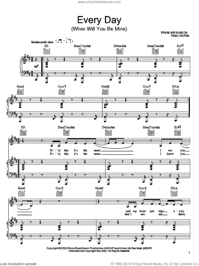 Every Day (When Will You Be Mine) sheet music for voice, piano or guitar by Hilary McRae, intermediate. Score Image Preview.