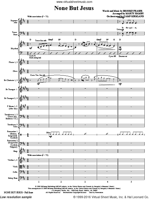 None But Jesus (COMPLETE) sheet music for orchestra by Brooke Fraser and Marty Hamby. Score Image Preview.