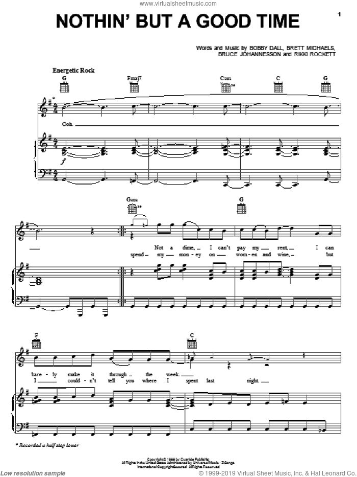 Nothin' But A Good Time sheet music for voice, piano or guitar by Teddy Geiger, Poison, Rock Of Ages (Musical), The Rocker (Movie), Bobby Dall, Brett Michaels, Bruce Johannesson and Rikki Rockett, intermediate skill level