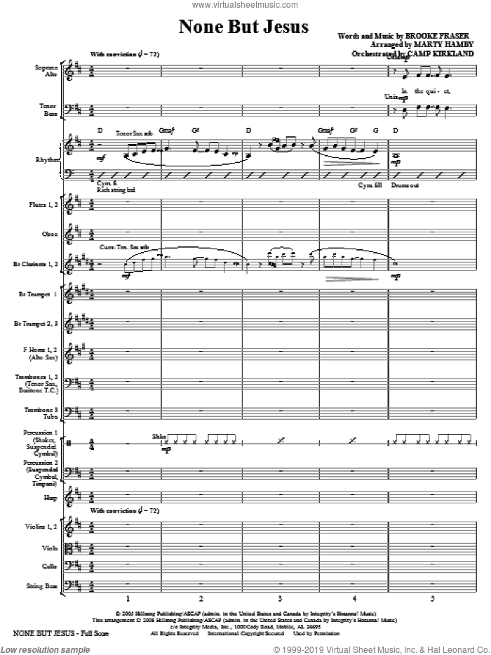 None But Jesus (COMPLETE) sheet music for orchestra/band (Orchestra) by Brooke Fraser and Marty Hamby, intermediate. Score Image Preview.