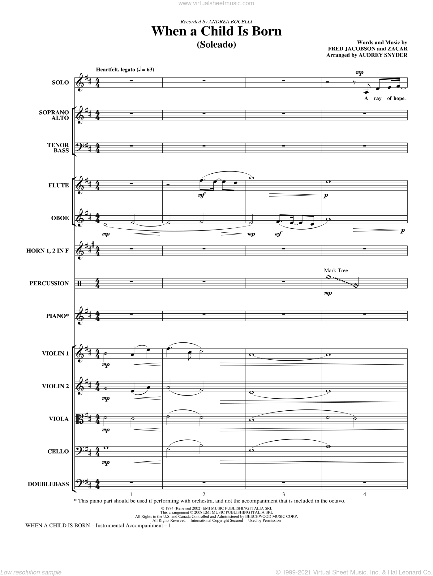 When A Child Is Born (Soleado) sheet music for orchestra/band (Chamber) by Fred Jacobson