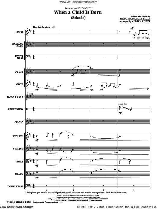 When A Child Is Born (Soleado) (COMPLETE) sheet music for orchestra by Fred Jacobson