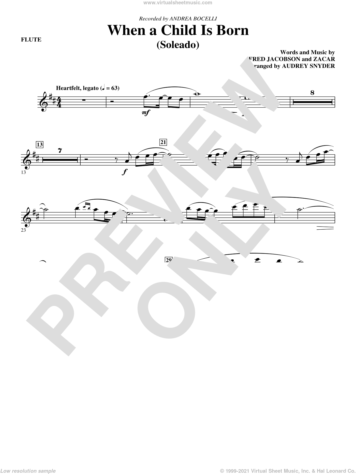 When A Child Is Born (Soleado) sheet music for orchestra/band (flute) by Fred Jacobson