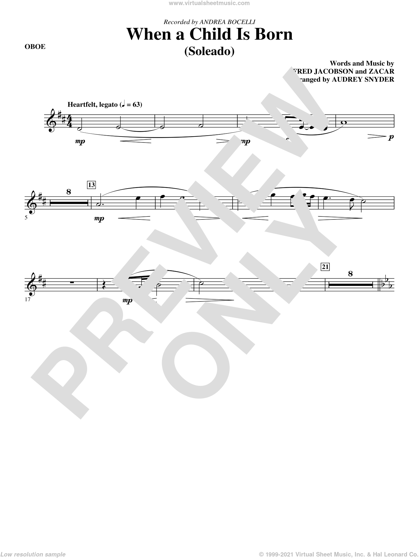 When A Child Is Born (Soleado) sheet music for orchestra/band (oboe) by Fred Jacobson