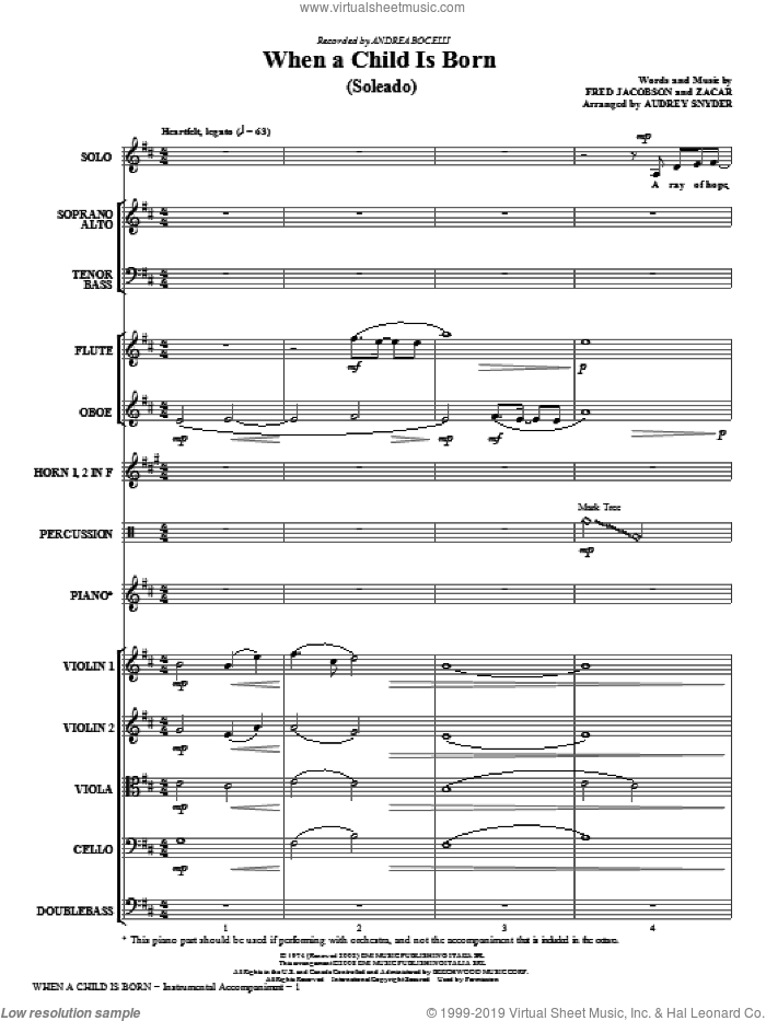 When A Child Is Born (Soleado) (COMPLETE) sheet music for orchestra/band (chamber ensemble) by Audrey Snyder, Fred Jacobson, Zacar and Andrea Bocelli, intermediate skill level