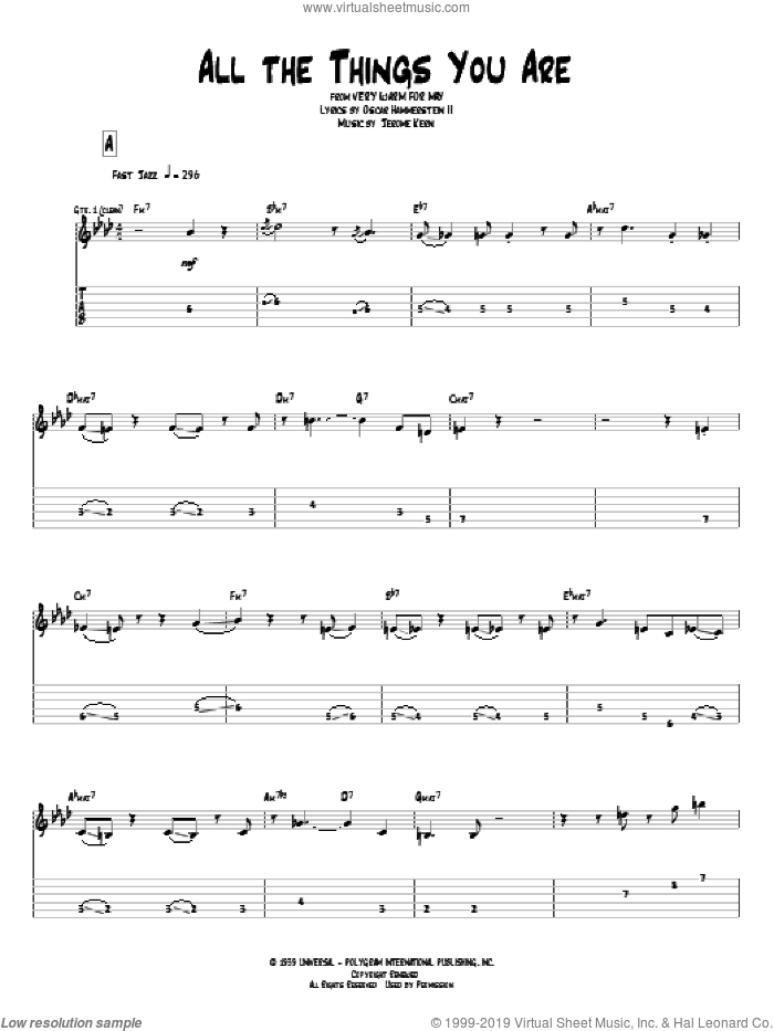 All The Things You Are sheet music for guitar (tablature) by Oscar II Hammerstein, Pat Metheny and Jerome Kern. Score Image Preview.