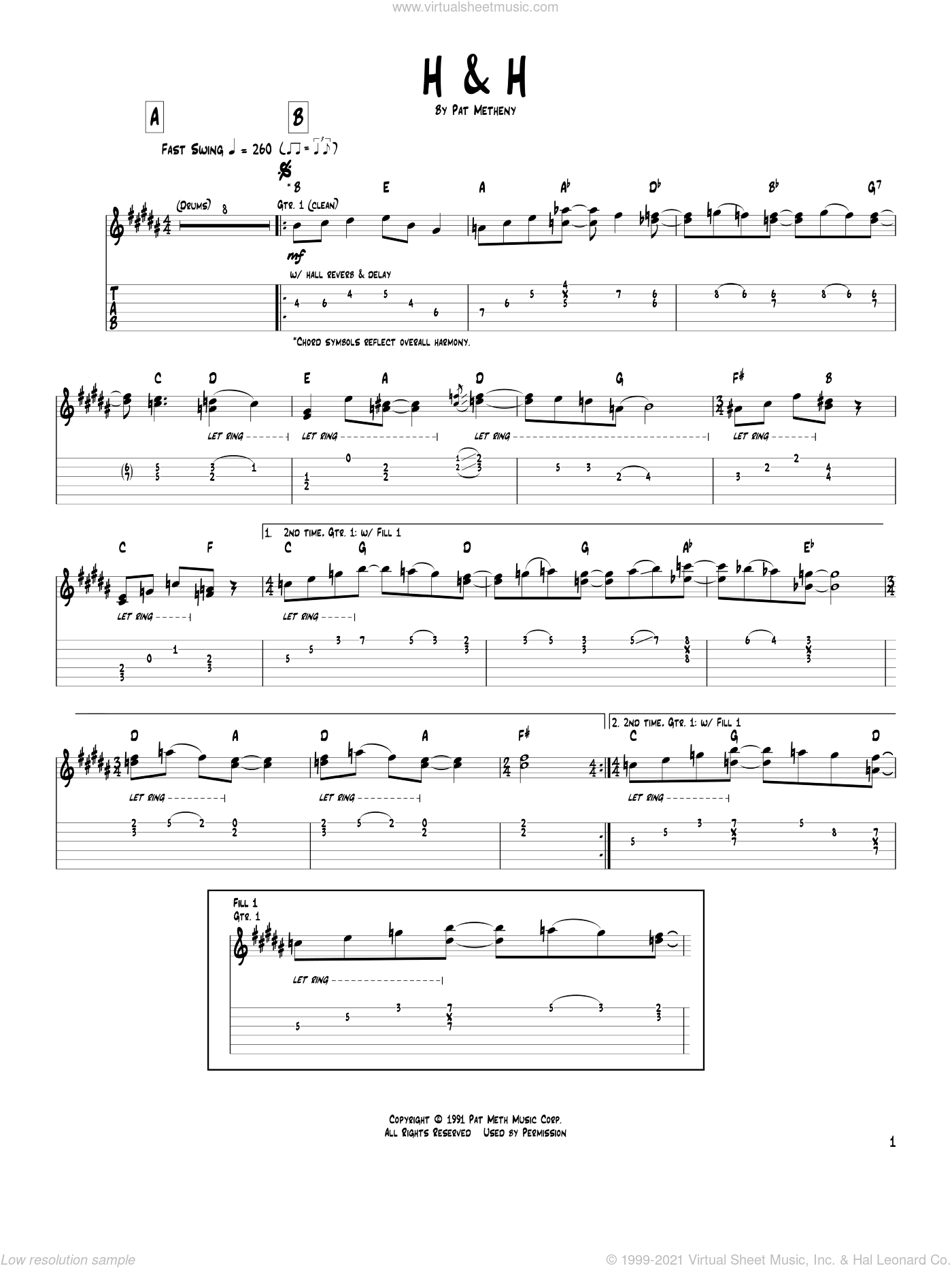 H and H sheet music for guitar (tablature) by Pat Metheny. Score Image Preview.