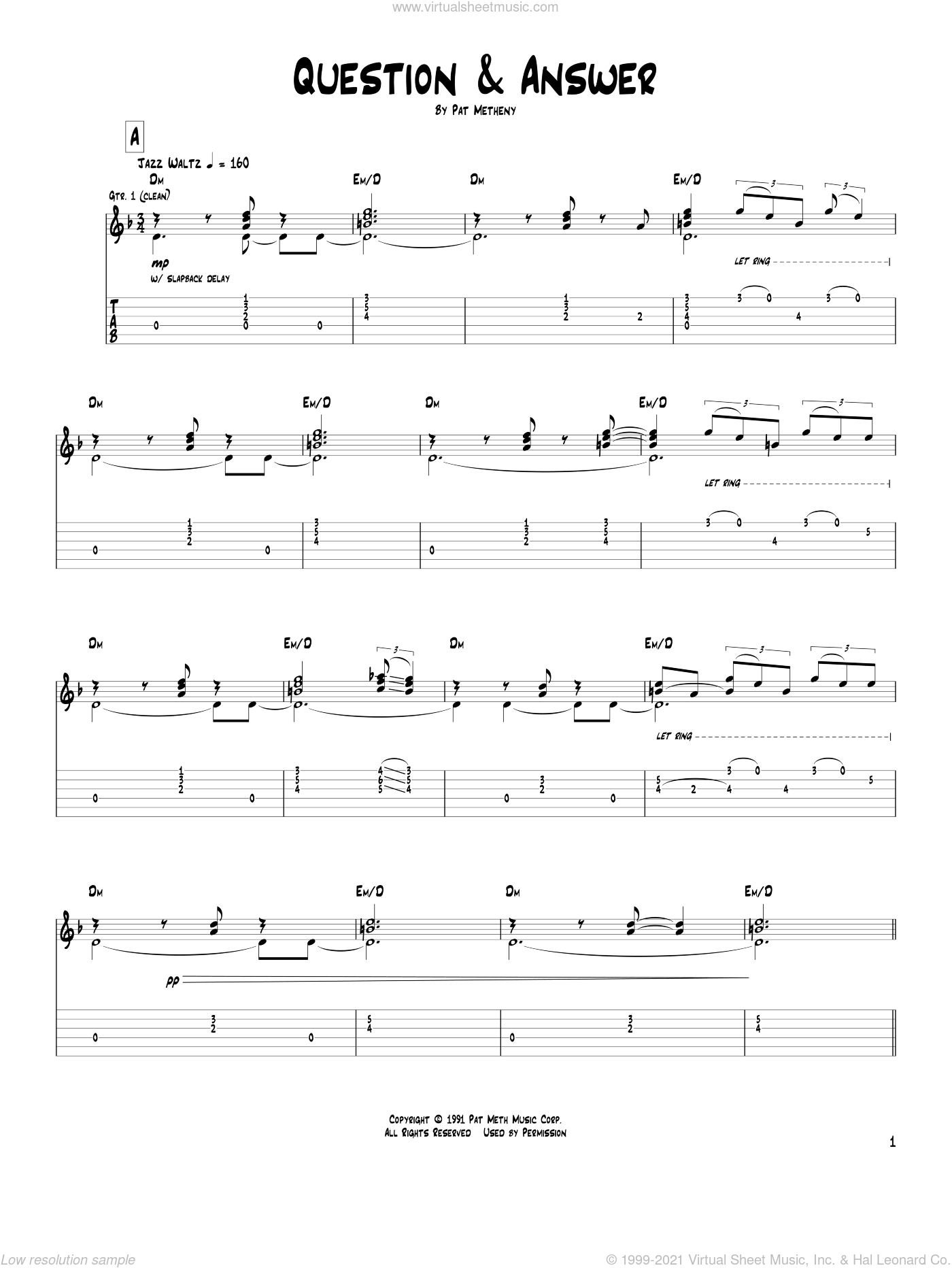Question and Answer sheet music for guitar (tablature) by Pat Metheny. Score Image Preview.