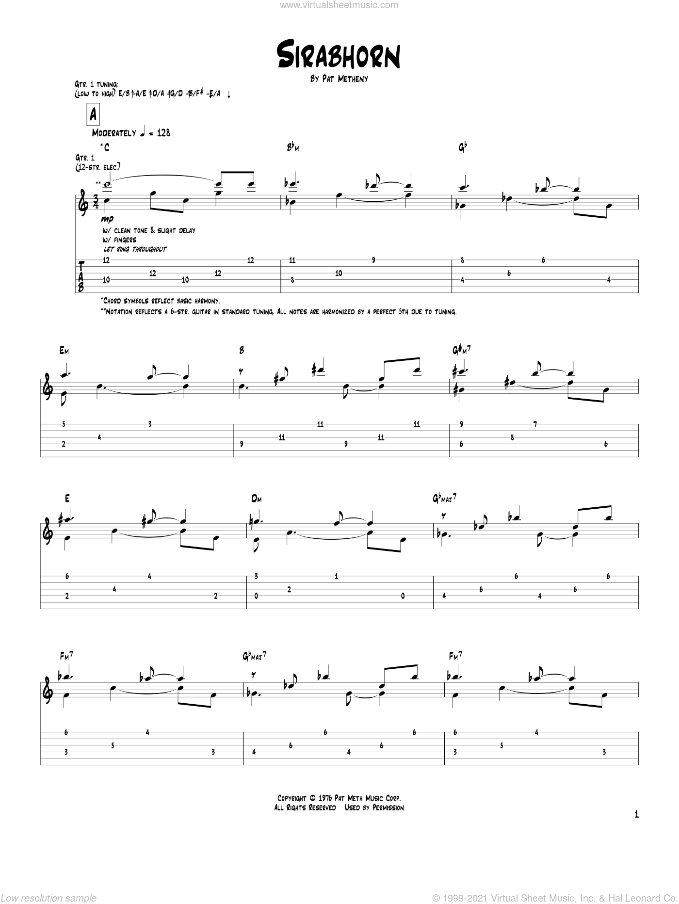Sirabhorn sheet music for guitar (tablature) by Pat Metheny, intermediate. Score Image Preview.