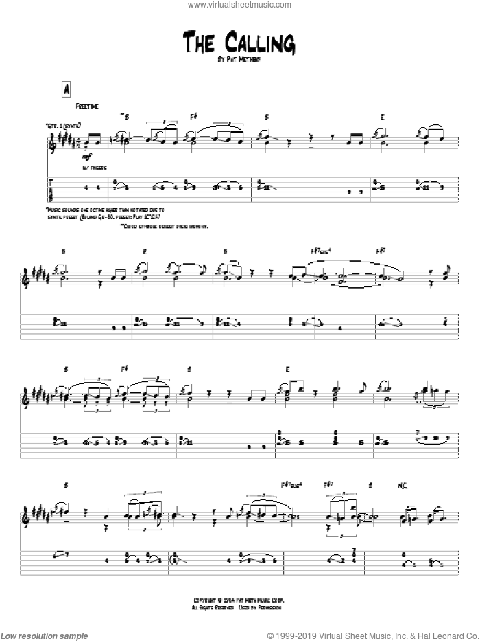 The Calling sheet music for guitar (tablature) by Pat Metheny, intermediate skill level