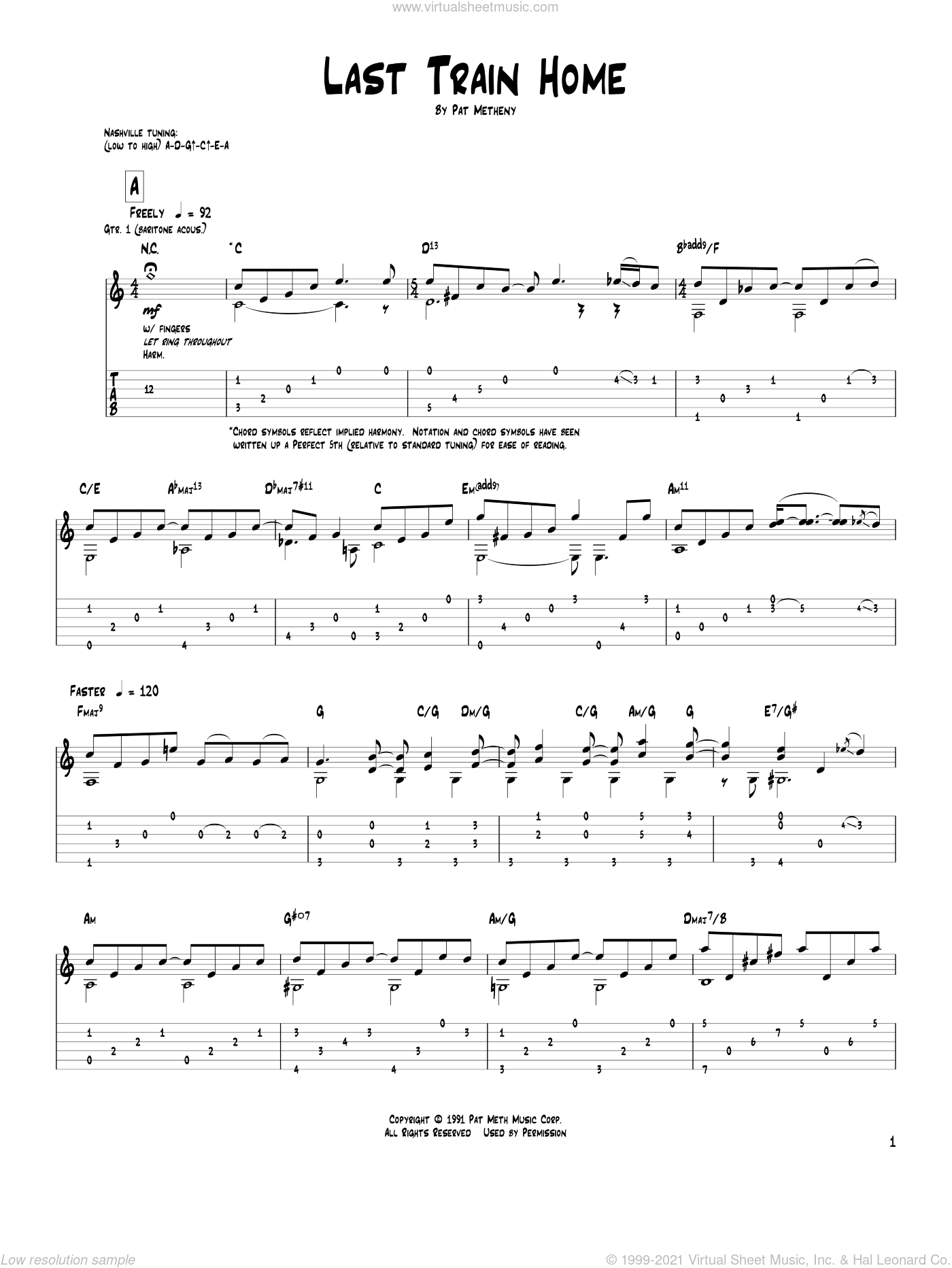 Last Train Home sheet music for guitar (tablature) by Pat Metheny, intermediate guitar (tablature). Score Image Preview.