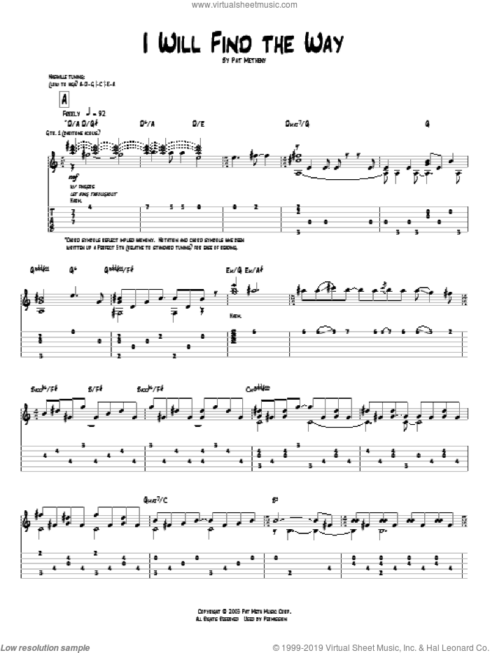 I Will Find The Way sheet music for guitar (tablature) by Pat Metheny, intermediate