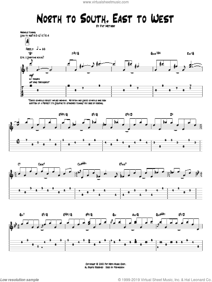 North To South, East To West sheet music for guitar (tablature) by Pat Metheny. Score Image Preview.