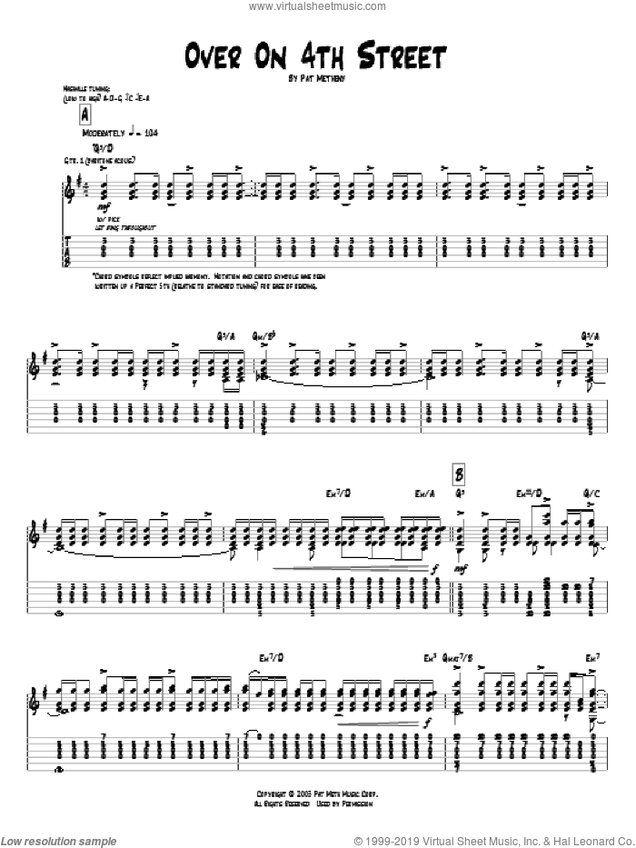 Over On 4th Street sheet music for guitar (tablature) by Pat Metheny. Score Image Preview.