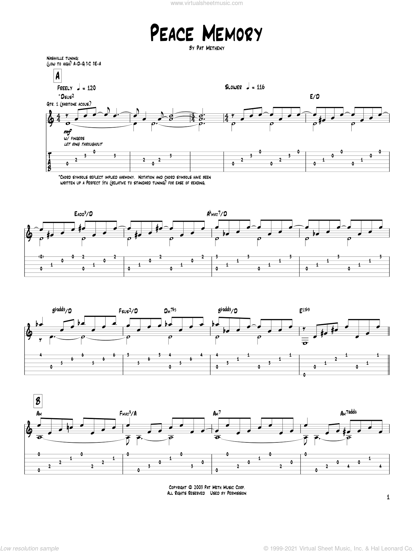 Peace Memory sheet music for guitar (tablature) by Pat Metheny. Score Image Preview.