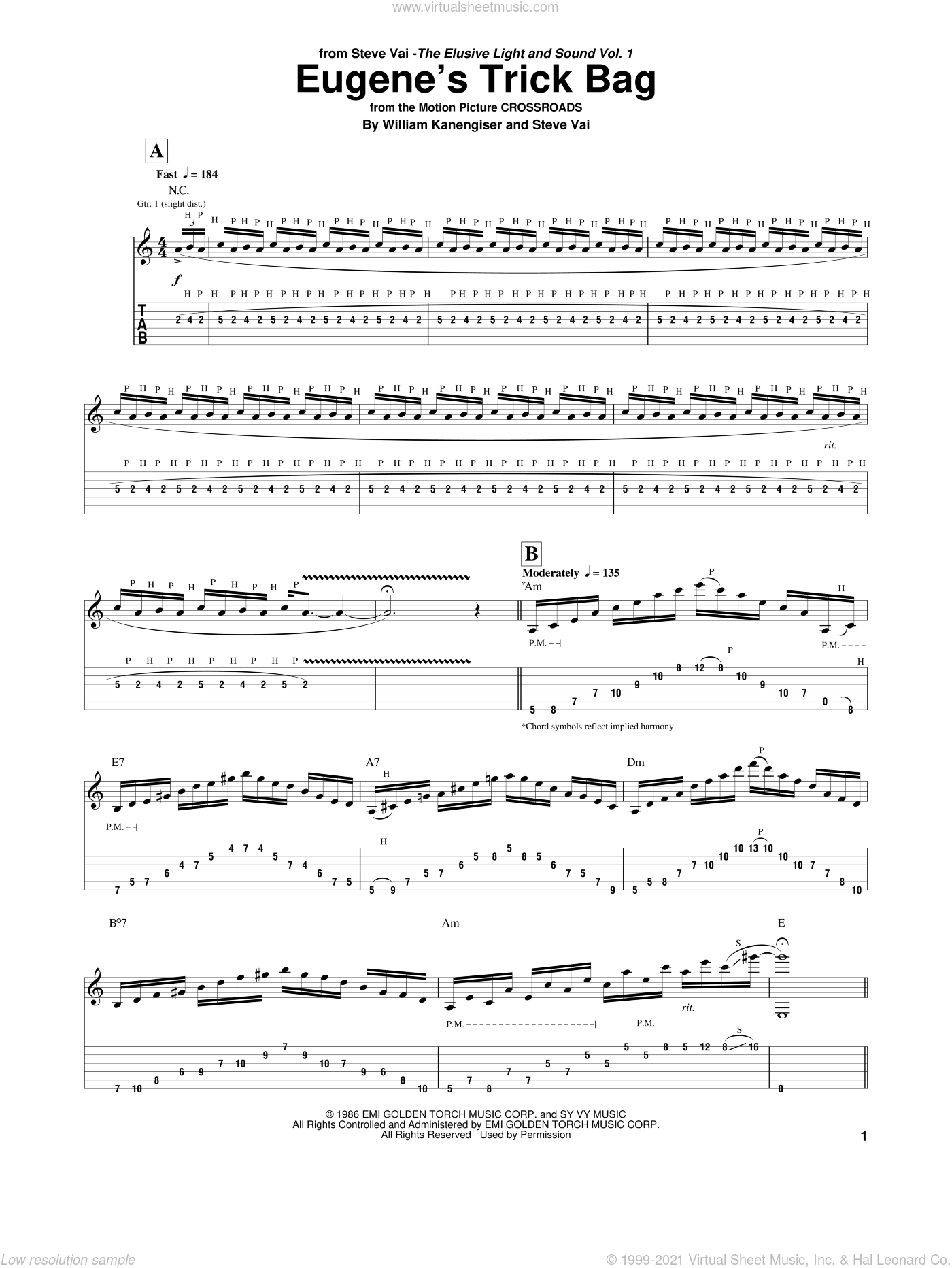 Eugene's Trick Bag sheet music for guitar (tablature) by Steve Vai and William Kanengiser, intermediate skill level