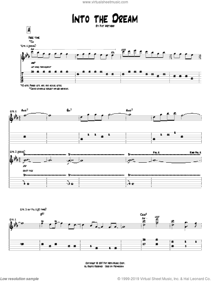 Into The Dream sheet music for guitar (tablature) by Pat Metheny, intermediate. Score Image Preview.