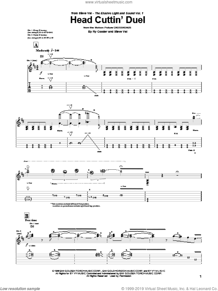 Head Cuttin' Duel sheet music for guitar (tablature) by Steve Vai and Ry Cooder, intermediate skill level