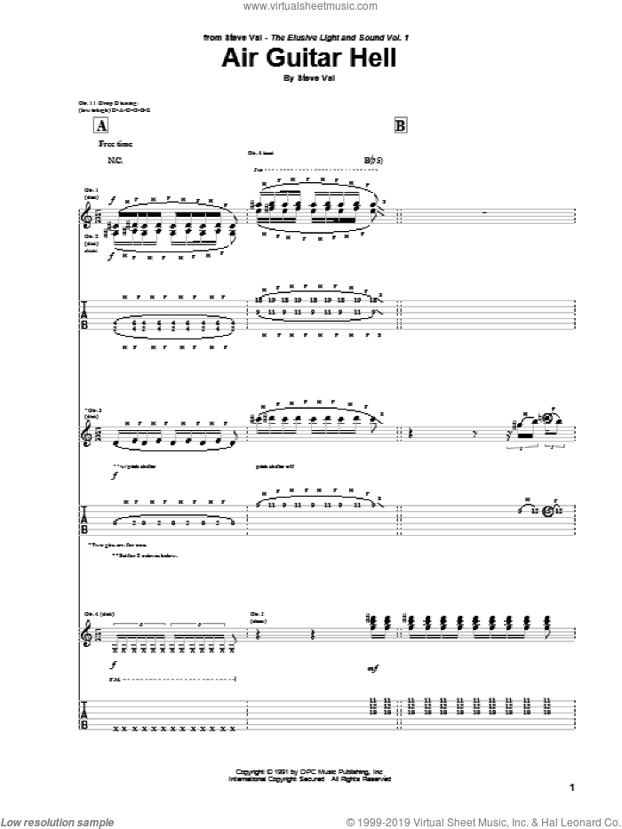 Air Guitar Hell sheet music for guitar (tablature) by Steve Vai. Score Image Preview.