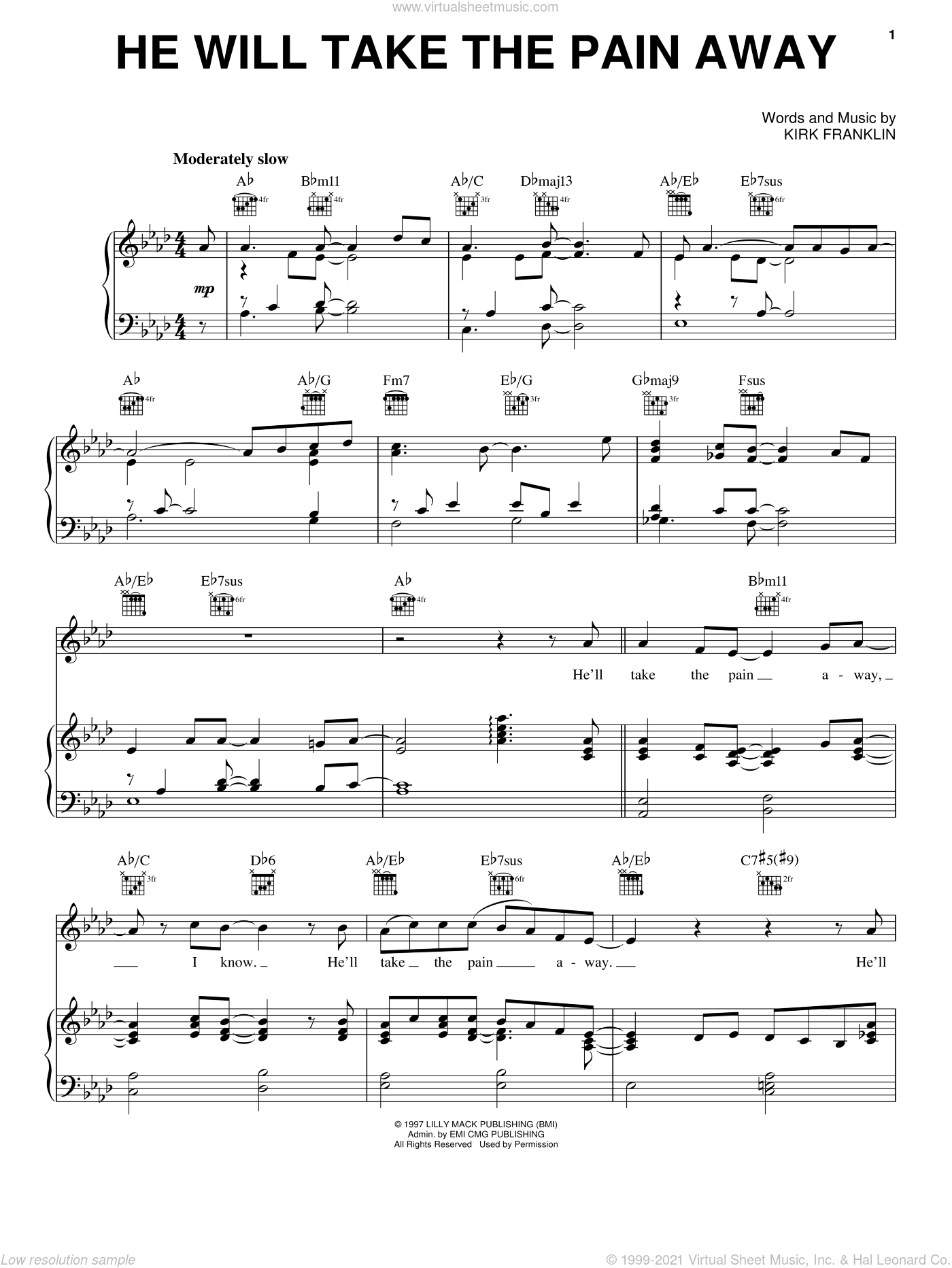 He Will Take The Pain Away sheet music for voice, piano or guitar by Kirk Franklin, intermediate skill level