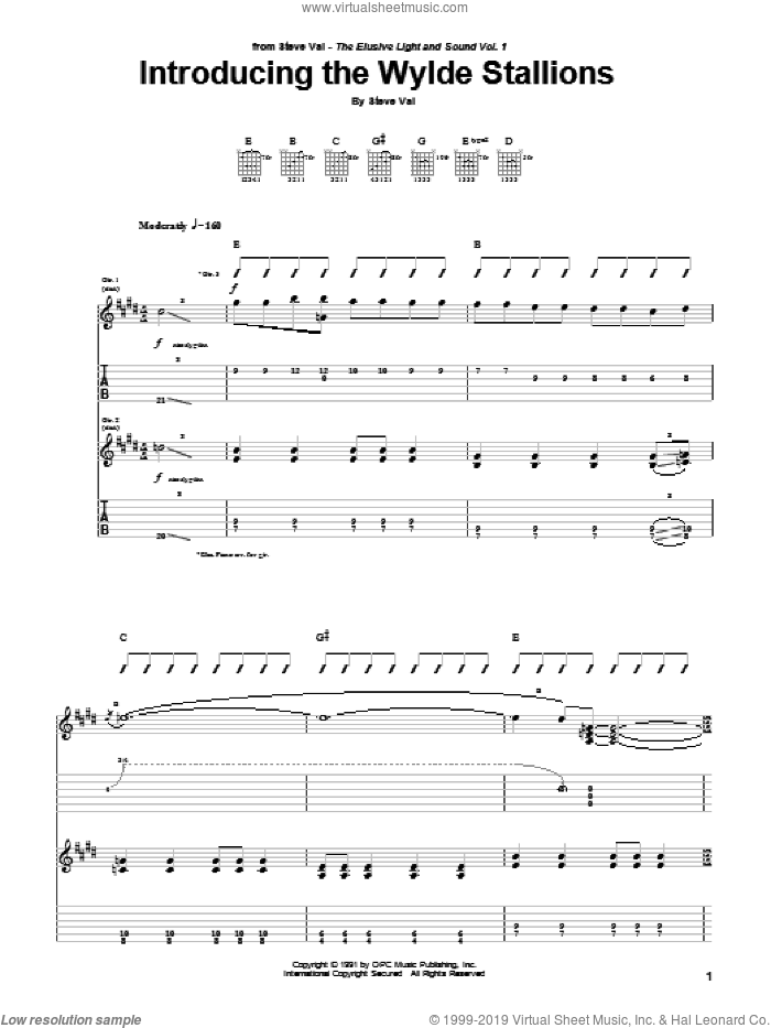 Introducing The Wylde Stallions sheet music for guitar (tablature) by Steve Vai, intermediate skill level
