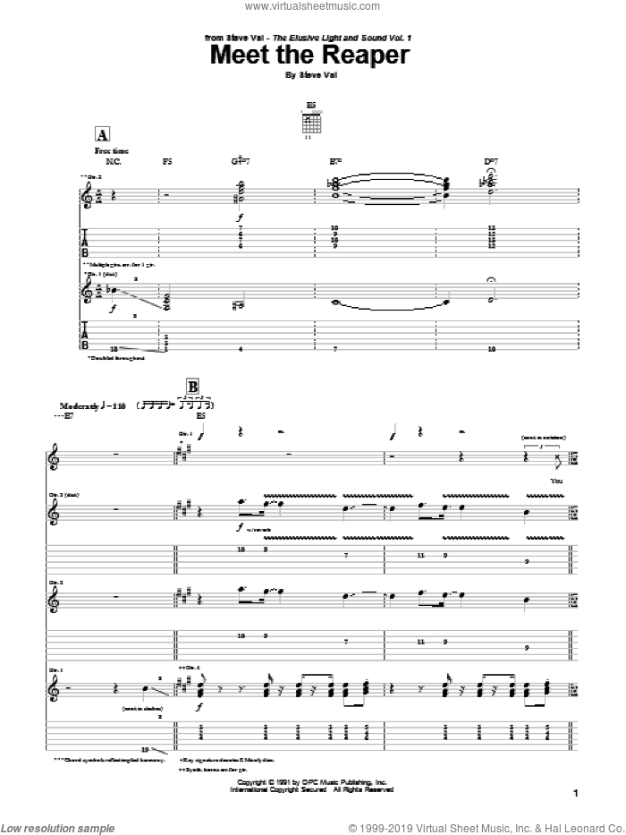 Meet The Reaper sheet music for guitar (tablature) by Steve Vai. Score Image Preview.