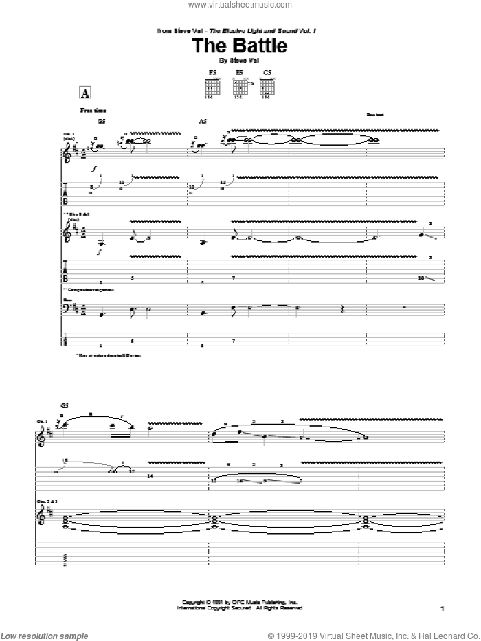 The Battle sheet music for guitar (tablature) by Steve Vai, intermediate skill level