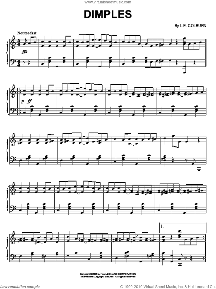 Dimples sheet music for piano solo by L.E. Colburn. Score Image Preview.