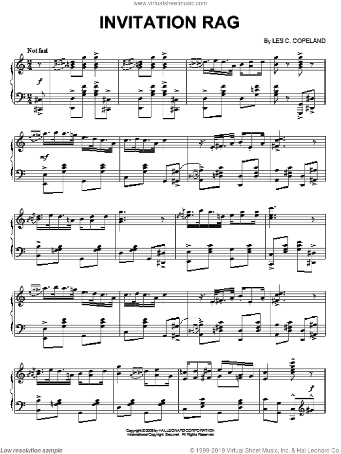 Invitation Rag sheet music for piano solo by Les C. Copeland