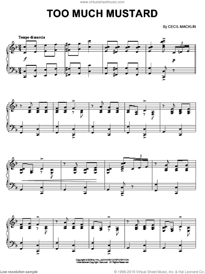 Too Much Mustard sheet music for piano solo by Cecil Macklin, intermediate skill level