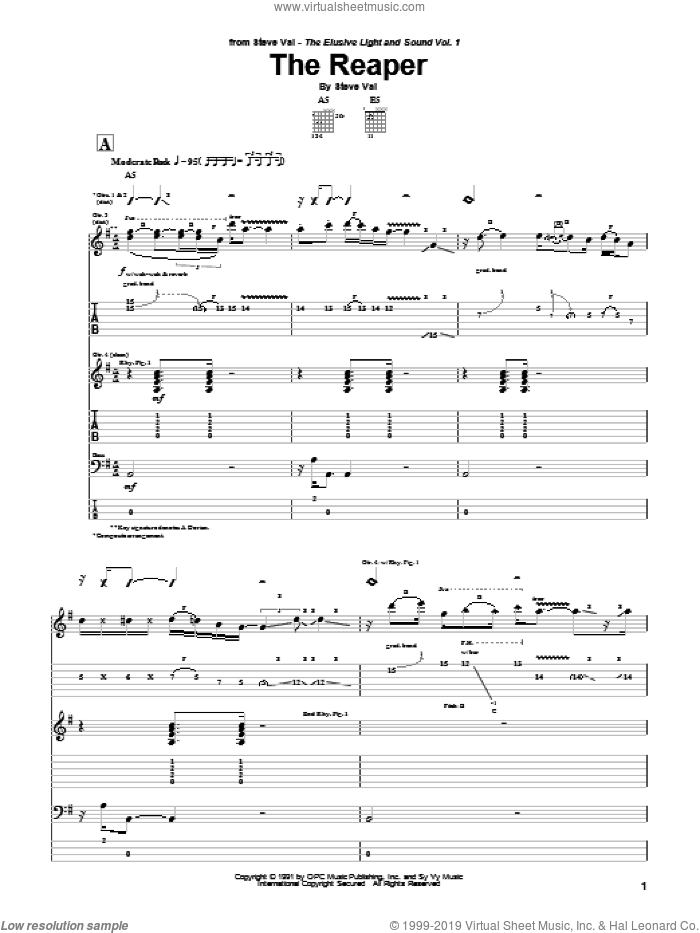 The Reaper sheet music for guitar (tablature) by Steve Vai. Score Image Preview.