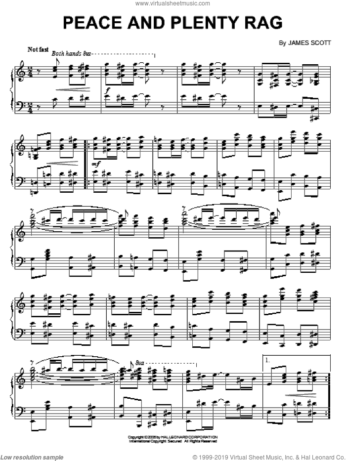 Peace And Plenty Rag sheet music for piano solo by James Scott. Score Image Preview.