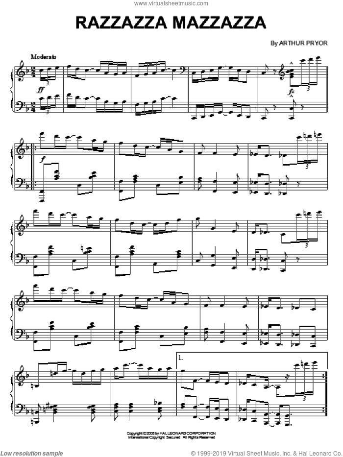 Razzazza Mazzazza sheet music for piano solo by Arthur Pryor. Score Image Preview.