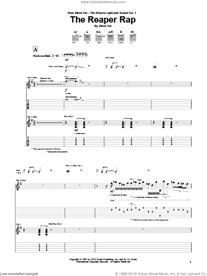 The Reaper Rap sheet music for guitar (tablature) by Steve Vai. Score Image Preview.