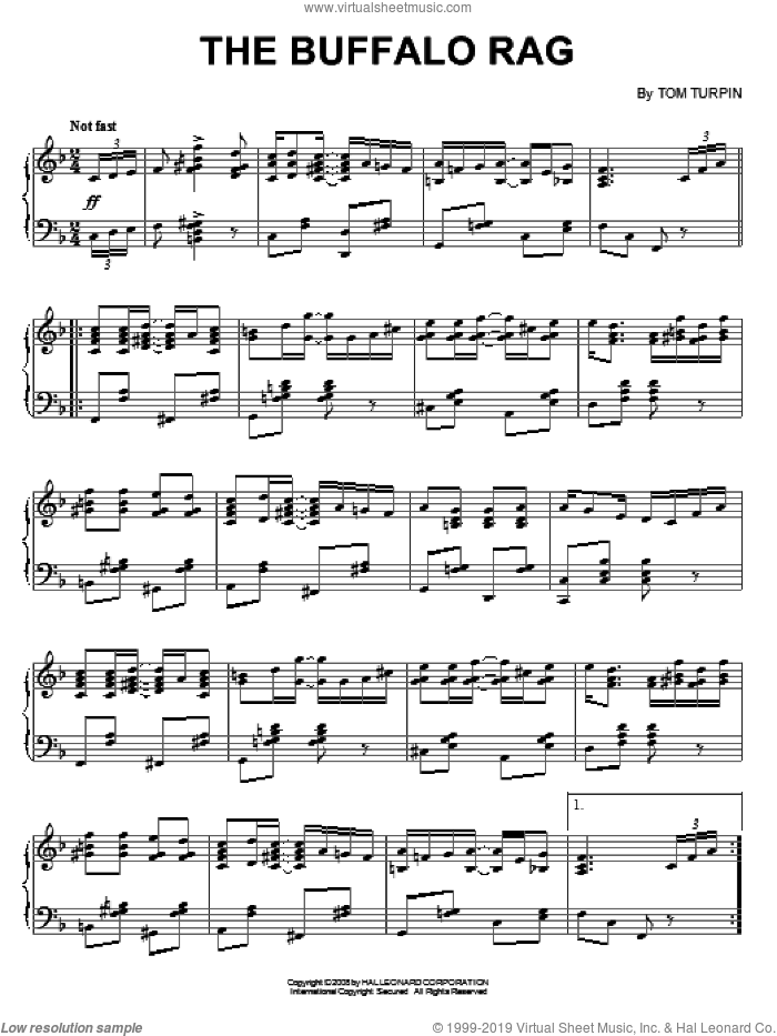 The Buffalo Rag sheet music for piano solo by Tom Turpin