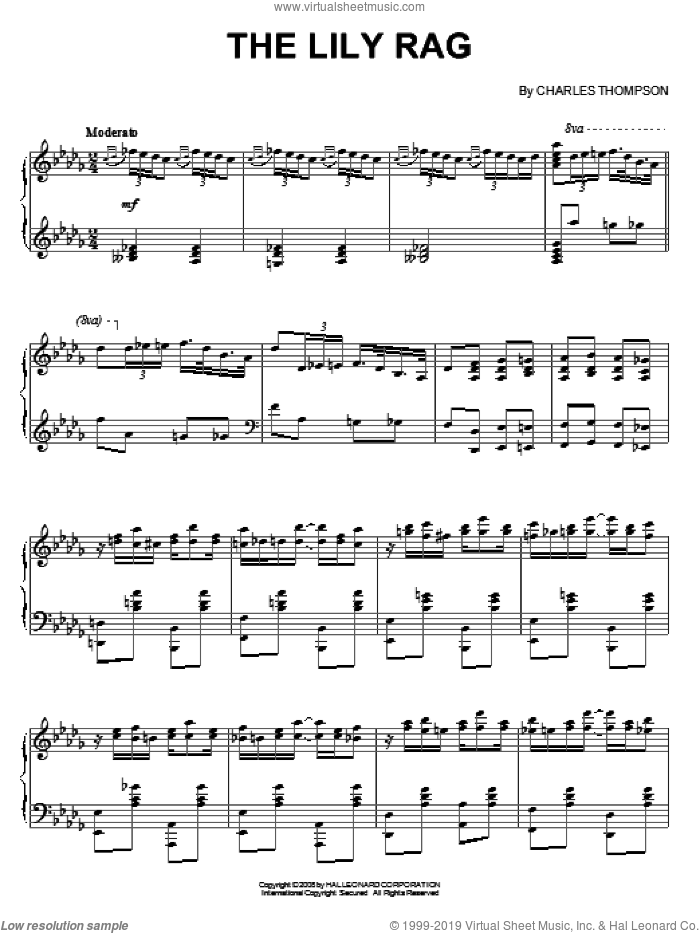 The Lily Rag sheet music for piano solo by Charles Thompson, intermediate skill level