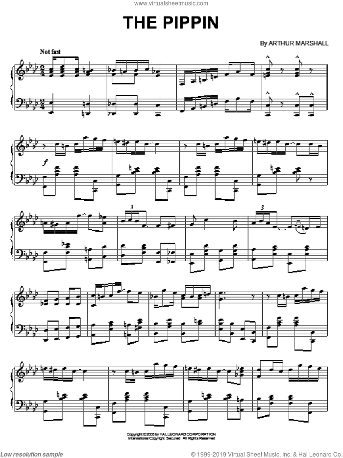The Pippin sheet music for piano solo by Arthur Marshall, intermediate skill level
