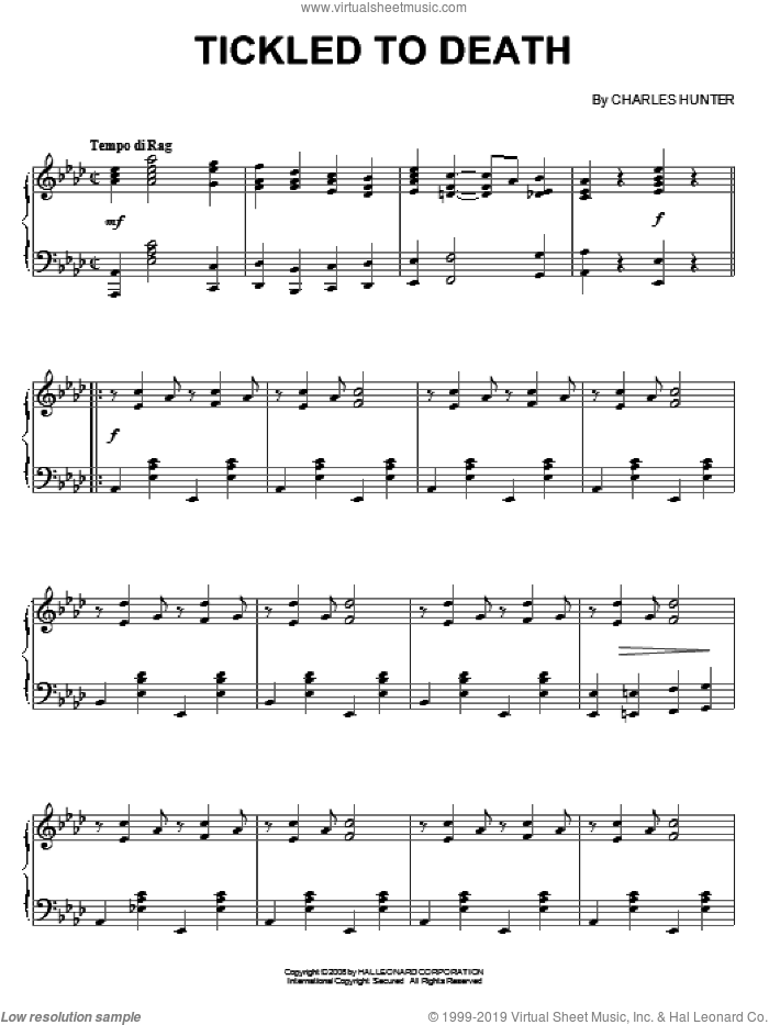 Tickled To Death sheet music for piano solo by Charles Hunter, intermediate skill level