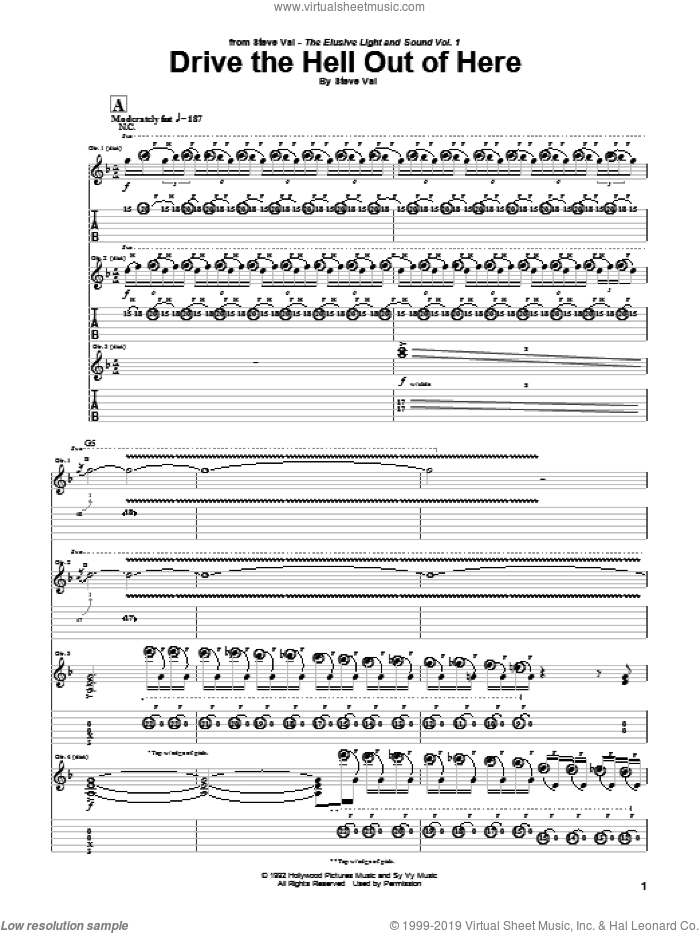 Drive The Hell Out Of Here sheet music for guitar (tablature) by Steve Vai. Score Image Preview.