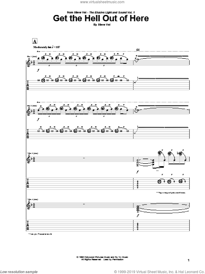 Get The Hell Out Of Here sheet music for guitar (tablature) by Steve Vai. Score Image Preview.